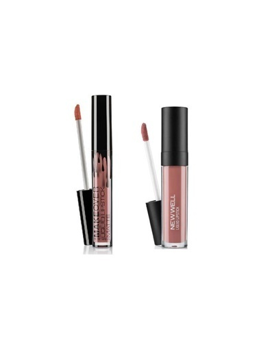 New Well Newwell Porcelain Make Up Lipstick D-204 6 Ml+Make Over Likit Ruj No:681 4 Ml Renkli